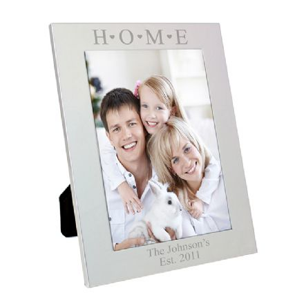 Personalised Silver 5x7 Home & Hearts Frame